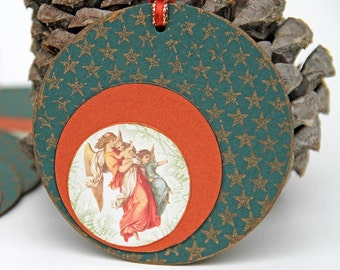 Angels Christmas Gift Tags with Vintage Image, Set of 10 Handmade Favor Tags, Vintage Angels, Red and Green, Holiday Package Decoration,