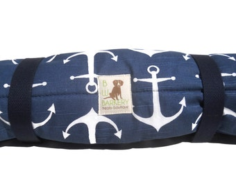 Dog Bed - Nautical Navy And White Anchors Bed Roll