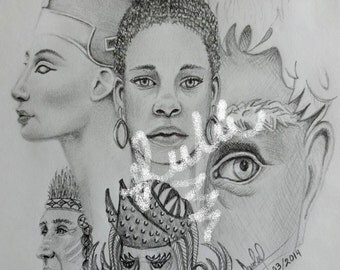 original, pencil, drawing, faces