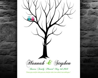 WEDDING GIFT Guest Book | Alternative Guest Book Tree | Custom Wedding Guestbook Tree 150-200 Guest Sign In | size 20x24 num. 146