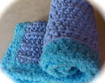 """Crocheted Baby Blanket 15"""" x 18""""  Toddler Blanket / Lovie / Soft Travel Blanket /Car Blanket / Custom Colors Available"""