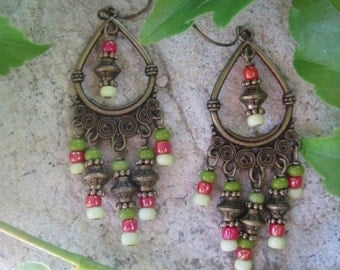 Gypsy Boho Colorful Czech Glass Seed Bead and Antique Gold Finish Chandelier Earrings