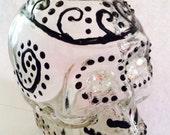 Dia de losuertos glass skull bottle