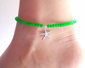 Starfish Anklet, Neon Green Anklet, Beaded Ankle Bracelet, Neon Anklet, UK Seller