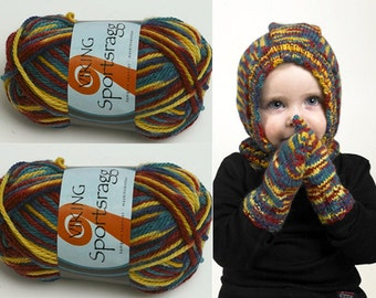 38% Off 50g/1.76oz SPORTSRAGG Double Knitting yarn by VIKING GARN #559 Blue- Yellow - Bordo