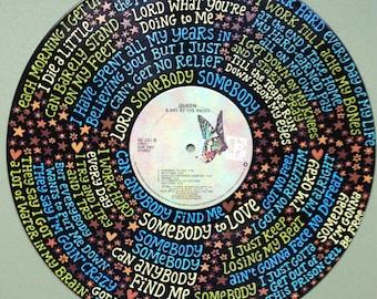 Queen Somebody to Love Lyrics Handpainted on Vinyl Record