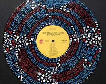 Rolling Stones Start Me Up Lyrics Handpainted on Vinyl Record
