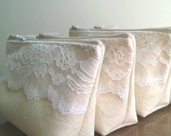 White Lace Bridesmaid Clutches, Rustic Wedding, Linen and Lace Bridesmaid Clutch, Clutches Set of 8