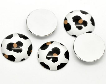 5 Animal Print Cabochons - Round Glass Dome Seals - Flat Backs - 25mm - Ships IMMEDIATELY from California - C107