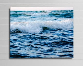 Ocean Wall Art, 16x20 Canvas Photograph, Blue Photography, Lake House Decor, Large Picture, Coastal Photo