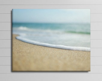 Beach House Decor, Bathroom Artwork, Large Coastal Wall Art, Ocean Canvas, Surf Photograph, Blue and Brown Canvas Art