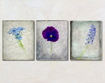 Flower Photograph Set of Three Prints, Rustic Home Decor, Wall Art Collection, Bathroom Artwork, Vertical Photography, Purple Picture