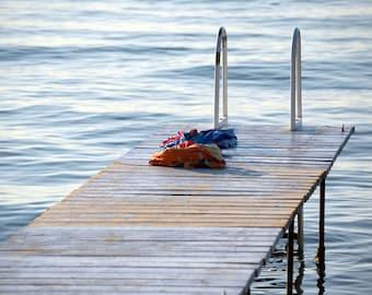 Lake Photograph, Swimming Art Print, Dock Picture, Lake House Decor, Summer Artwork, Orange and Blue Art, 8x10 Picture, Coastal Photography