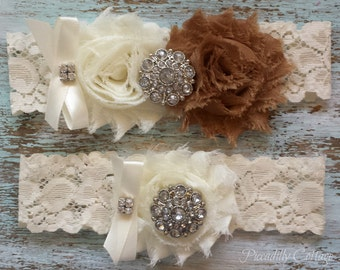 Wedding Garter, Brown Wedding Garter Set, Bridal Garter, Lace Wedding Garter, Keepsake Garter and Toss Garter Set