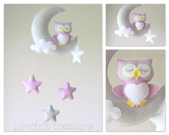 Baby mobile owl mobile crib mobile owl baby mobile stars - Movil para cuna bebe ...