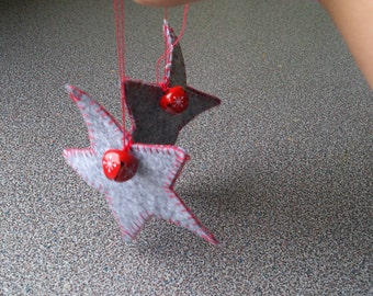 Felt stars set of 2 christmas ornaments with red and white bell stocking stuffers gift under 10