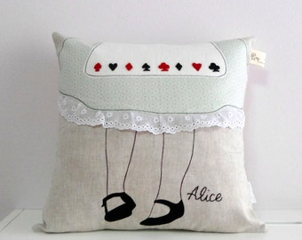 Alice in wonderland decorative linen/lace/cotton pillow/cushion cover,embroidered, Fairy tale inspired, Vintage inspired, Made to order