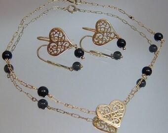 REDUCED!! 14k Filigree Heart & Onyx Bead Paperclip / Peanut Bracelet and Earrings SET