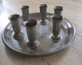 Pewter tray with six small goblets