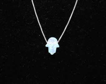 SALE - White Opal Hamsa Necklace on fine Sterling Silver Chain, Delicate Hand Charm - LIMITED TIME!