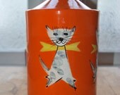 Vintage Hand Thrown Italian Orange Cookie Jar Canister With Cat Motif