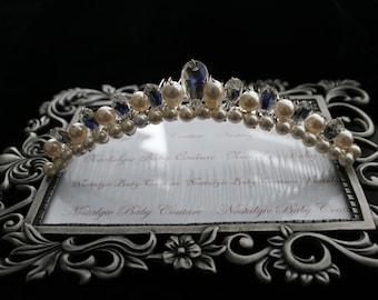 Bridal Headpiece/Crystal and Pearl Bridal Crown\Cotillion\Prom\Quinceanera Tiara Headpiece\Handmade, Swarovski Crystals and Pearls