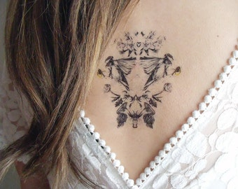 Temporary Tattoo with Chickadee Botanical Print