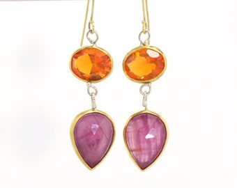 Mexican Fire Opal & Pink Rose Cut Sapphire Dangle Drop Earrings