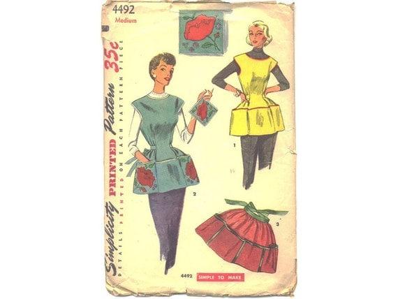 Patron de couture tablier vintage ann es 1950 tablier mod le for Patron tablier original femme asnieres sur seine