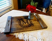 5 Coffee Table Trays Rustic Decorative Wooden Serving Tray Personalized Wedding Gift Bridal Shower Gift Housewarming