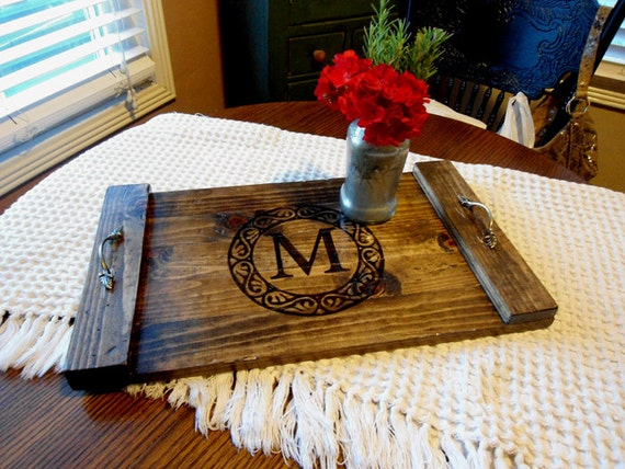 Items similar to coffee table tray rustic decorative wooden serving tray personalized wedding Decorative trays for coffee tables