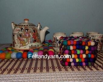 Multicolored square Felt ball Trivet and tea coaster set