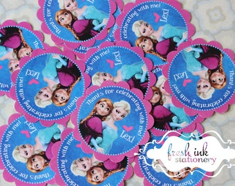 Elsa and Anna Thank You Stickers