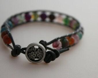 single wrap bracelet - purple agate - beaded wrap - free shipping