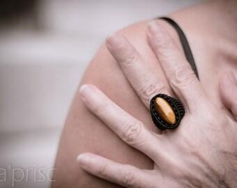 Macrame Tiger Eye Ring