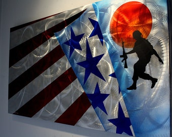 Metal Art - Wilmos Kovacs Soldier U.S. Flag Abstract Metal Wall Sculpture Modern Art - Rainbow Decor Painting - W671