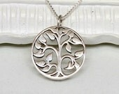 Silver Tree of Life Necklace, Sterling Silver Circle Tree,Bridesmaids,Family,Mother,Family Tree,Best Friends,Wedding,Graduation