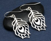 Silver Peacock Feather Earrings, Sterling Silver,Peacock, Feather Earrings, Gift For Her,