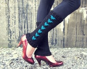 Leg Warmers Knit  Blue Black Heart Valentines Day Teen Leggings Womens  Ladies Adult Crochet