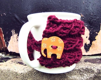 Cup Cozy Knitted Mug Warmer Coffee Red Burgundy Elephant Autumn Button Tea Hot Cocoa Sleeve Cover Knit Crochet