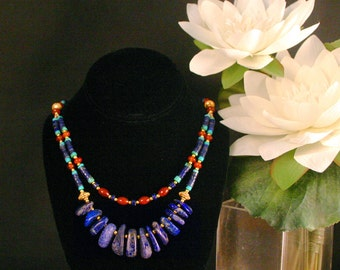 Lapis Lazuli Necklace, Egyptian Jewelry, Ethnic Jewelry, Blue Lapis Necklace, Carnelian, Turquoise & Gold,Statement Necklace