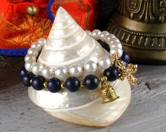 Pearl Bracelet, Lapis Lazuli Bracelet, 2 Mala Bracelet Set, Bell & Dorje Bracelet, Yoga Jewelry, Gemstone Wrist Mala, Meditation Bracelet