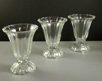 3 MidCentury Sundae Glasses  // Industrial Commercial Restaurant Ware // from UBlinkItsGone