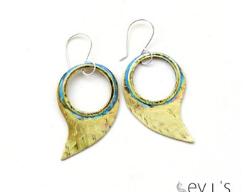 Teardrop Paisley Hoop Earrings Brass Green Patina Sterling Ear Hooks Metalsmith Chandelier Boho Hippie Ethnic Dangle Drop by evismetalwork