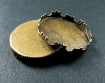 10pcs 25mm setting size vintage style bronze crown round bezel base DIY supplies 1411070