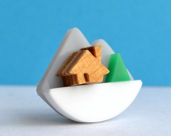 Mountain brooch, handmade by I Am Acrylic from Perspex and Wood