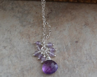 Sterling Silver Purple Amethyst Briolette Cluster Chain Necklace