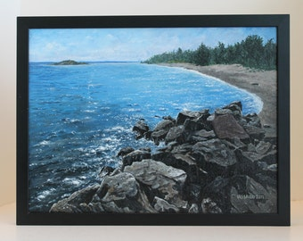 "Wall Art Original Acrylic Painting 12""X16"": Lake Superior Solace"