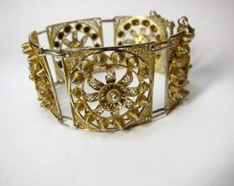 Vintage Gold 800 Silver Panel Bracelet Hand Made Bedoin