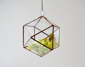 Hanging Glass Terrarium, glass planter, polyhedron, triangular orthobicupola, diamond shape plant holder